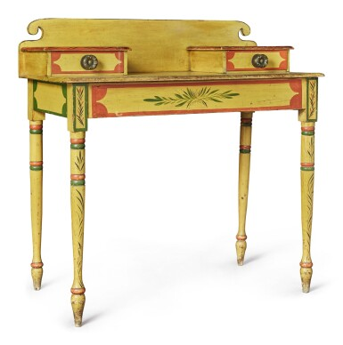 View 3. Thumbnail of Lot 318. Fine Classical Polychrome Paint-Decorated Pine Dressing Table, Maine, circa 1825-1840.