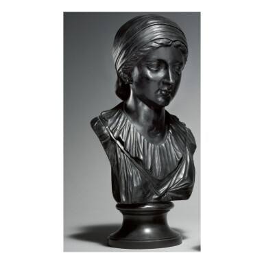 A WEDGWOOD AND BENTLEY BLACK BASALT BUST OF THE POET SAPPHO LATE 18TH CENTURY