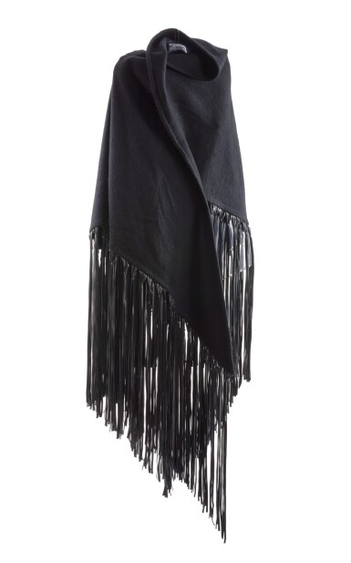 Black cashmere, wool and leather shawl, Hermès