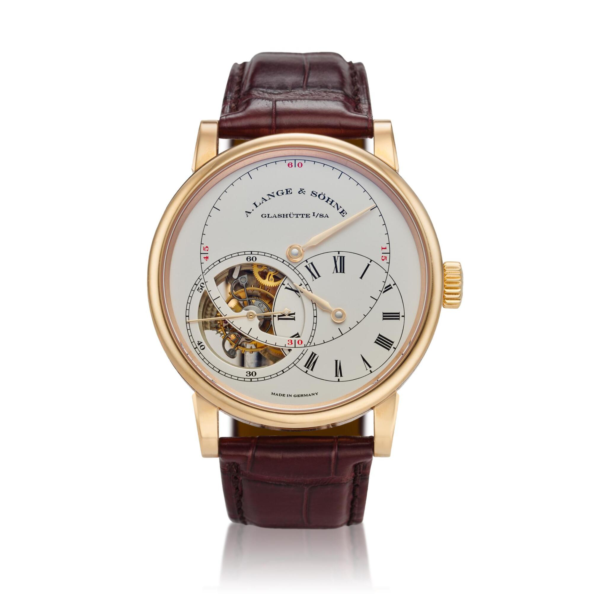 View full screen - View 1 of Lot 295. Reference 760.032F Richard Lange Tourbillon pour le Mérite  A pink gold tourbillon wristwatch with chain and fusée and regulator dial, Circa 2014.