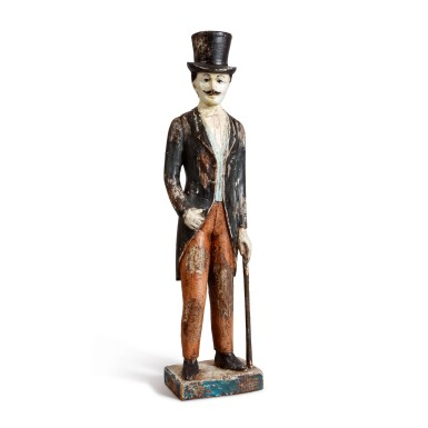 AMERICAN CARVED AND POLYCHROME PAINT-DECORATED WOOD FOLK SCULPTURE OF A MAN WITH A TOP HAT, LATE 19TH CENTURY
