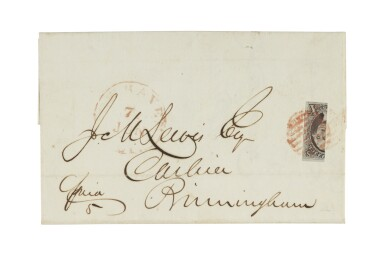 1847 10c Black Vertical Bisect (2b)