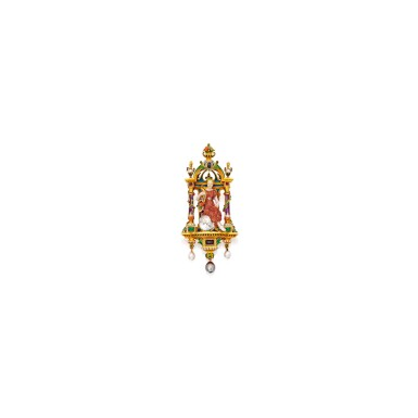 GOLD, ENAMEL, DIAMOND AND GEM-SET PENDANT-BROOCH, BOUCHERON, PARIS | 黃金配琺瑯彩、鑽石及寶石吊墜 / 別針,Boucheron