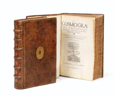 View 1. Thumbnail of Lot 197. THEVET. La Cosmographie universelle... Paris, 1575. 2 vol. in-folio. Reliure de l'époque..