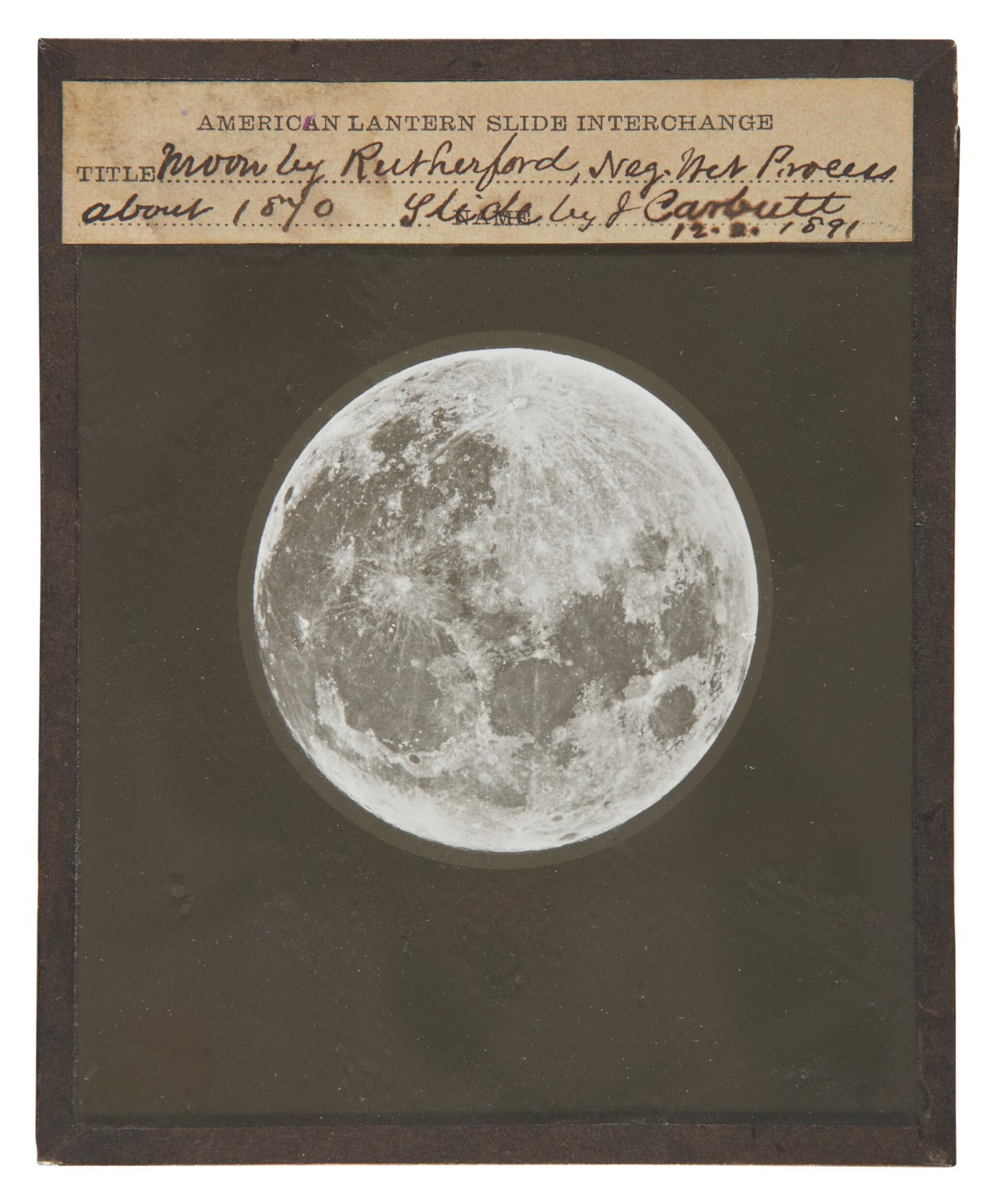 """Lewis Morris Rutherfurd. """"Moon by Rutherfurd,"""" Glass Lantern Slide, 21 December, 1891"""