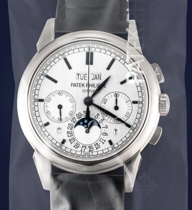 PATEK PHILIPPE | REFERENCE 5270, A WHITE GOLD PERPETUAL CALENDAR CHRONOGRAPH WRISTWATCH WITH MOON PHASES, LEAP YEAR AND DAY AND NIGHT INDICATION, CIRCA 2012