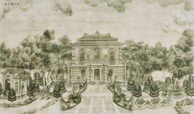 View 17. Thumbnail of Lot 362. A SET OF TWENTY PRINTS OF PALACES, PAVILIONS AND GARDENS AT YUANMING YUAN | 巴黎、1977年 《郎世寧圓明園西洋樓》 一組二十幅 水墨紙本.