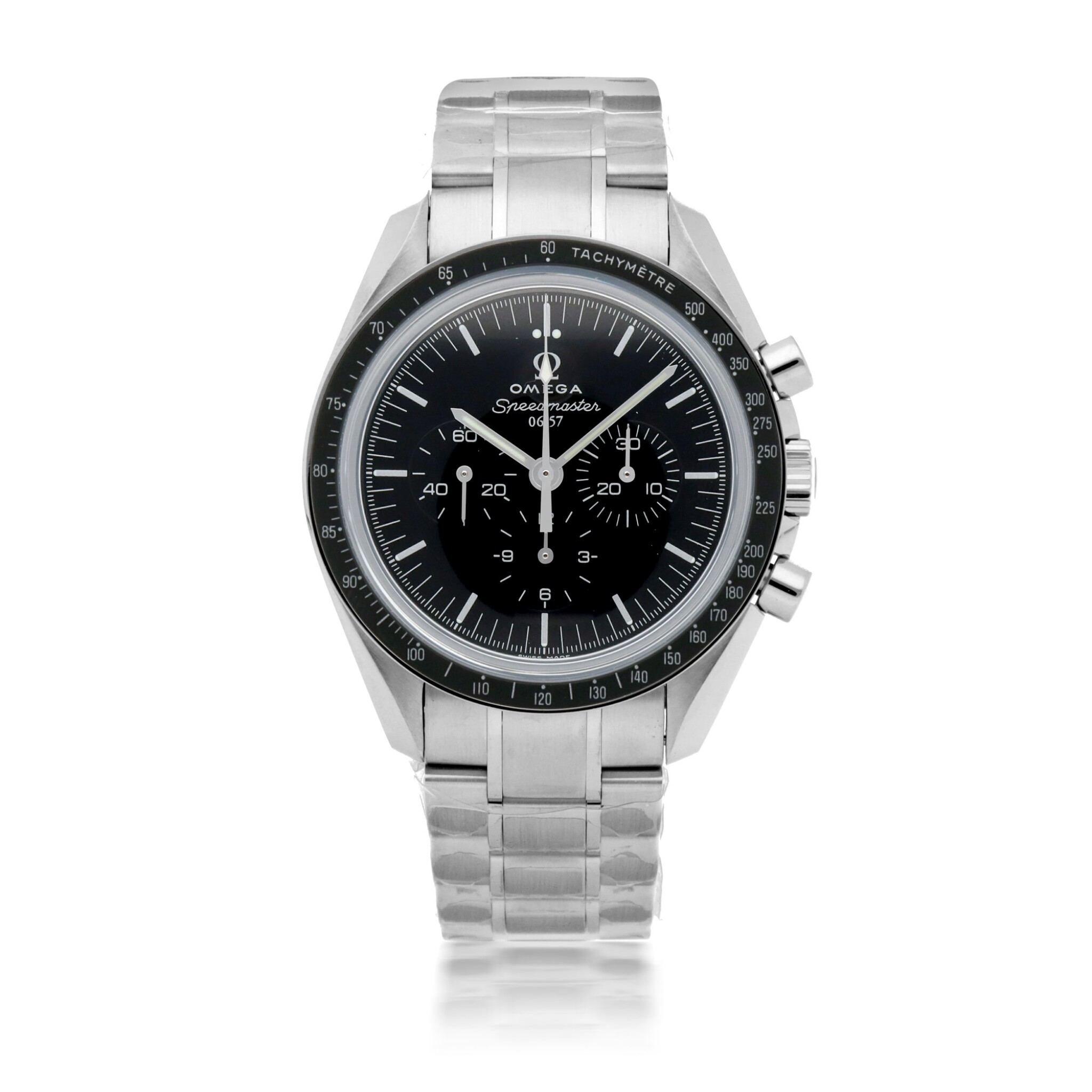 View full screen - View 1 of Lot 372. 50TH ANNIVERSARY SPEEDMASTER, REF 311.63.42.50.01.003 LIMITED EDITION WHITE GOLD CHRONOGRAPH WRISTWATCH WITH BRACELET CIRCA 2007.