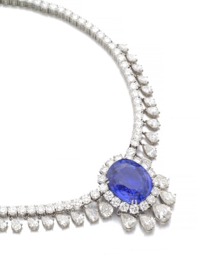 View 2. Thumbnail of Lot 6. SAPPHIRE AND DIAMOND NECKLACE.