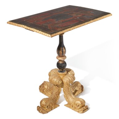 A CHINESE LACQUER CENTER TABLE ON A JAPANNED AND GILTWOOD DOLPHIN BASE, 19TH CENTURY