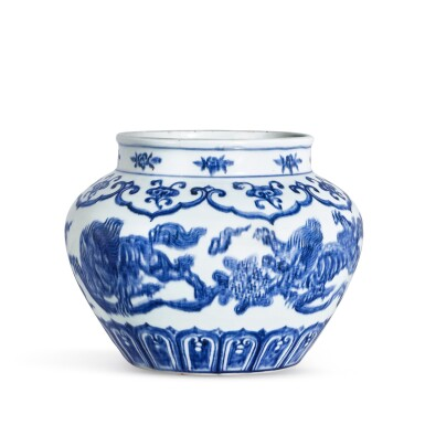 View 3. Thumbnail of Lot 3635. An exceptional blue and white 'lion and ball' jar Mark and period of Xuande | 明宣德 青花獅子戲球罐 《大明宣德年製》款.