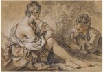 FRANÇOIS BOUCHER | RECTO: YOUNG MAN MESMERIZED BY A NYMPH PLAYING THE FLUTE,  VERSO: FRAGMENT OF A MALE ACADEMY NUDE