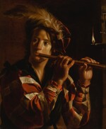 ADAM DE COSTER   A young man playing the flute by candelight