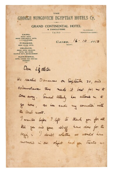 View 2. Thumbnail of Lot 68. T.E. LAWRENCE | autograph letter signed, to Major Littleton, 14 October 1918.