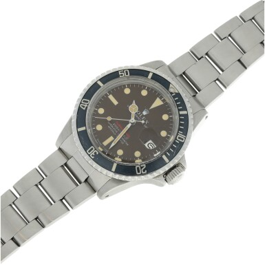 View 7. Thumbnail of Lot 126. REFERENCE 1680 SUBMARINER A STAINLESS STEEL AUTOMATIC WRISTWATCH WITH DATE, BRACELET AND TROPICAL DIAL, CIRCA 1970.