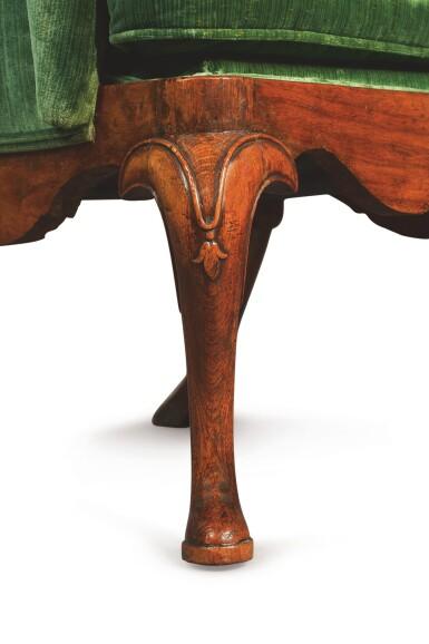 View 3. Thumbnail of Lot 237. A QUEEN ANNE WALNUT WING ARMCHAIR, CIRCA 1715.
