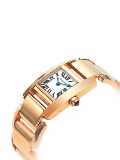 View 2. Thumbnail of Lot 34. CARTIER | REF 2801 TANKISSIME, A PINK GOLD WRISTWATCH WITH BRACELET CIRCA 2005.