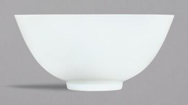 A WHITE-GLAZED BOWL, YONGZHENG MARK AND PERIOD | 清雍正 白釉盌 《大清雍正年製》款