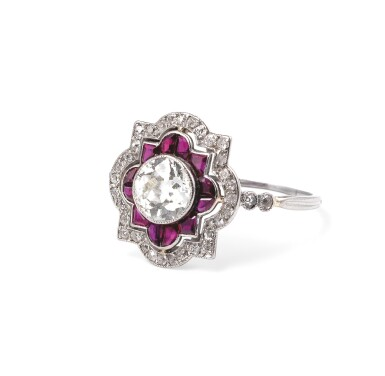 View 2. Thumbnail of Lot 49. Ruby and diamond ring [Bague rubis et diamants], 1930s [vers 1930].