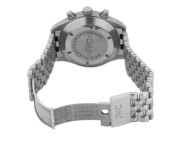 View 3. Thumbnail of Lot 53. IWC   DER FLIEGERCHRONOGRAPH, REF 3706 STAINLESS STEEL CHRONOGRAPH WRISTWATCH WITH DAY, DATE AND BRACELET CIRCA 2000.