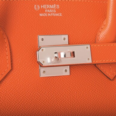 View 7. Thumbnail of Lot 65. Hermès Feu Birkin 35cm of Epsom Leather with Palladium Hardware .