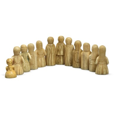 View 3. Thumbnail of Lot 113. A group of twelve carved marine ivory figures depicting Haida and European people, Pacific Northwest Coast, circa 1840.