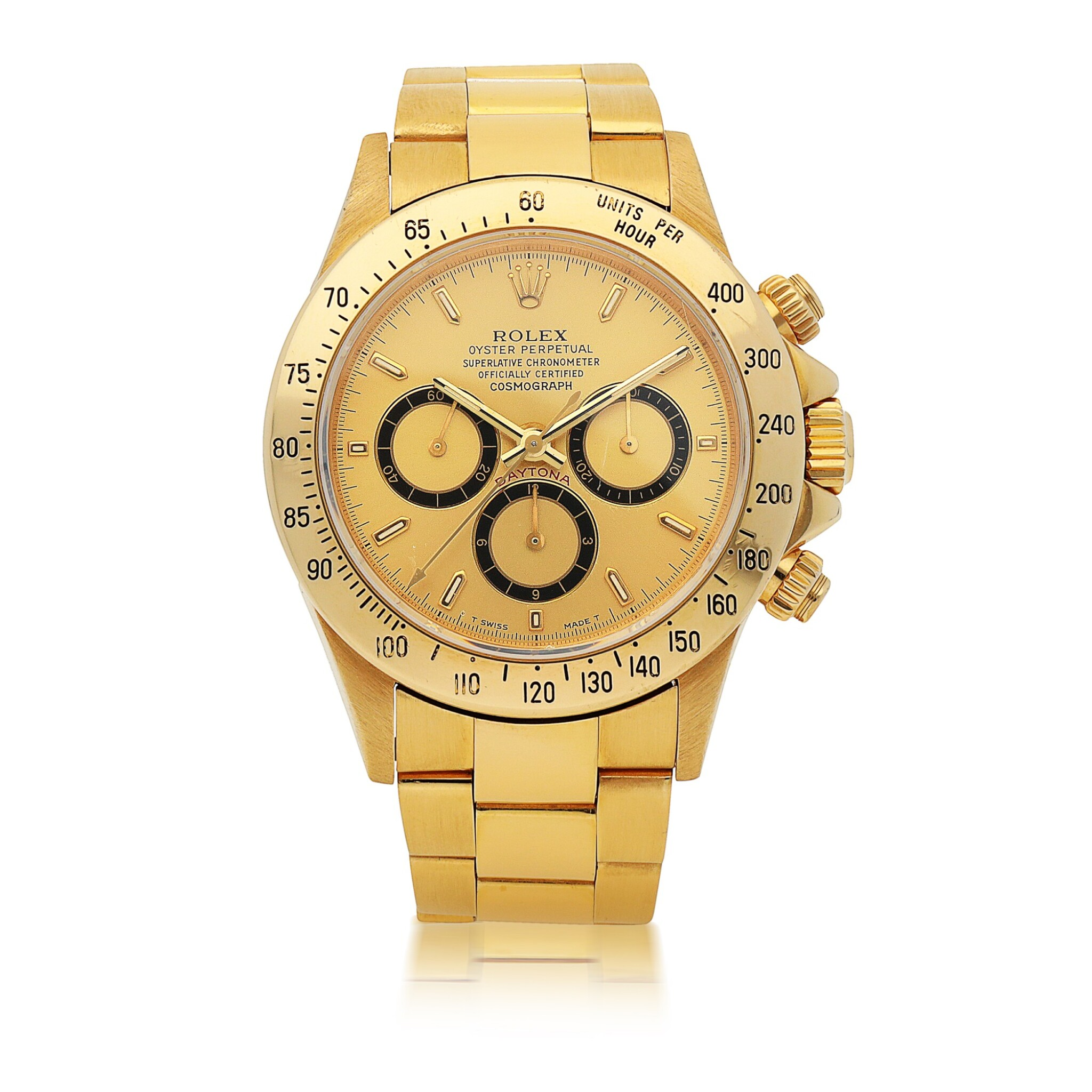 View full screen - View 1 of Lot 1153.  ROLEX  |  'ZENITH' DAYTONA, REF 16528   YELLOW GOLD CHRONOGRAPH WRISTWATCH WITH BRACELET AND 'INVERTED 6' DIAL   CIRCA 1991.