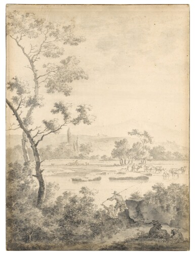 View 1. Thumbnail of Lot 99. Landscape with Fishermen and Goats.