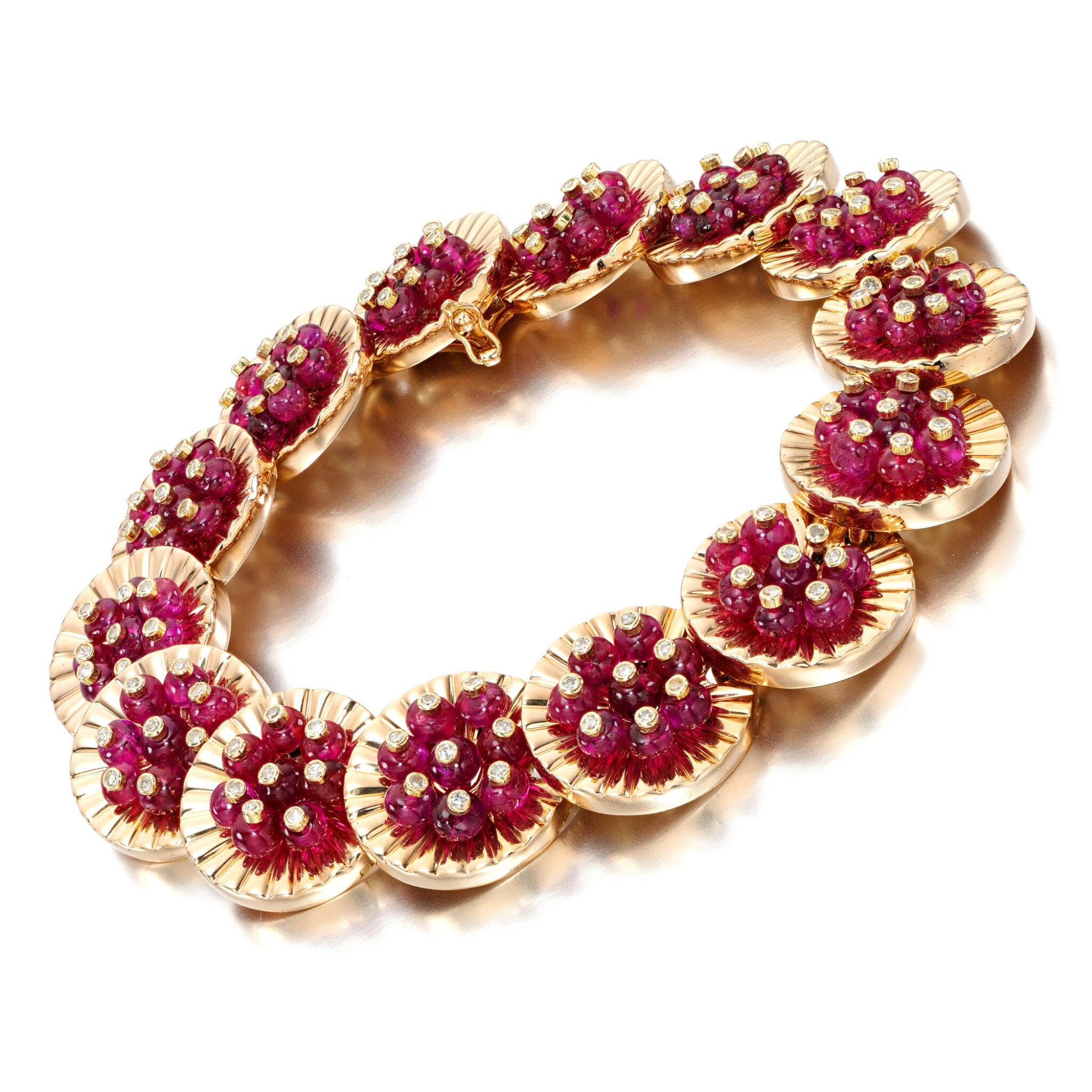 View full screen - View 1 of Lot 64. Ruby and diamond bracelet, 1977.