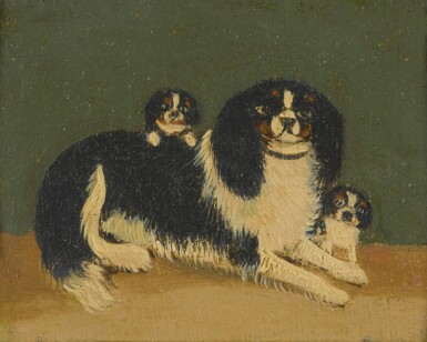 View 1. Thumbnail of Lot 90. ENGLISH SCHOOL, 19TH CENTURY   CAVALIER KING CHARLES SPANIELS WITH PUPPIES: A PAIR OF PAINTINGS.