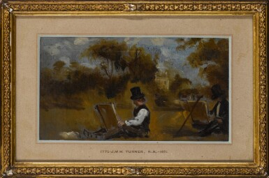 View 3. Thumbnail of Lot 207. CIRCLE OF JOHN CONSTABLE, R.A. | Recto: Two artists sketching in a landscape; Verso: A man holding a guineapig and its cage.