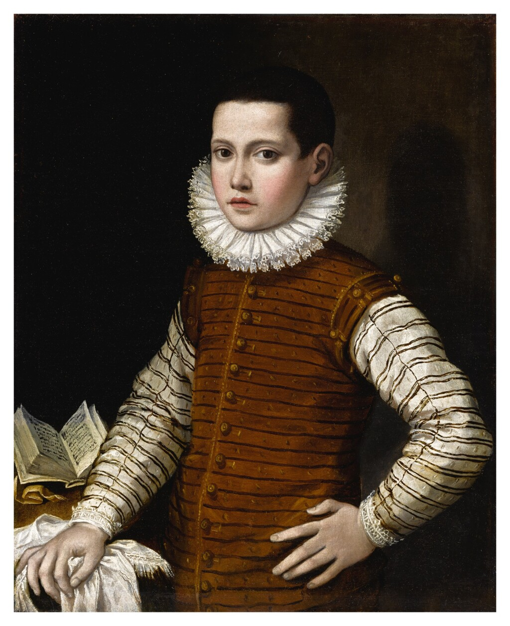 GERVASIO GATTI     PORTRAIT OF A BOY IN STRIPED DOUBLET AND WHITE RUFF, HIS LEFT ARM ON HIS HIP AND RIGHT RESTING ON A TABLE WITH AN OPEN BOOK, HALF-LENGTH