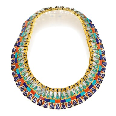 View 1. Thumbnail of Lot 211. Gold, Coral, Turquoise and Lapis Lazuli Necklace.