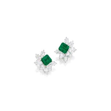 View 1. Thumbnail of Lot 520. PAIR OF EMERALD AND DIAMOND EARCLIPS, HARRY WINSTON   祖母綠配鑽石耳環一對,海瑞溫斯頓.
