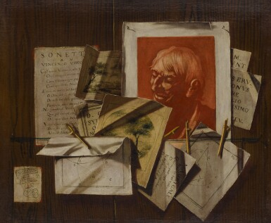 View 4. Thumbnail of Lot 96. A pair of trompe-l'œil still lifes with portrait and landscape sketches, sonnets, mathematical sketches.