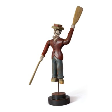CARVED AND POLYCHROME PAINT-DECORATED PINE 'DANDY' WHIRLIGIG, CIRCA 1910