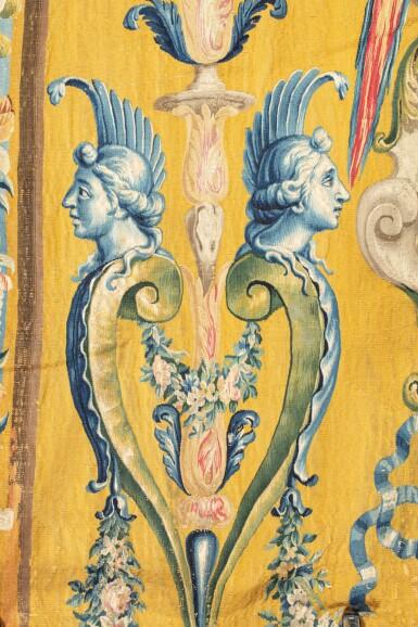 View 5. Thumbnail of Lot 22. A PAIR OF LOUIS XIV TAPESTRIES PORTIÈRES, PROBABLY LILLE, WORKSHOP OF GUILLAUME WERNIERS   PAIRE DE PORTIÈRES AUX ARMES EN TAPISSERIE, PROBABLEMENT LILLE, ATELIER DE GUILLAUME WERNIERS, D'ÉPOQUE LOUIS XIV.