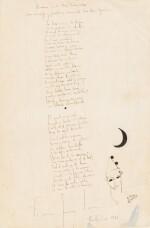 Romance de la luna luna. 1934. Poème autographe signé, orné d'un dessin et offert à son ami Mora Guarnido