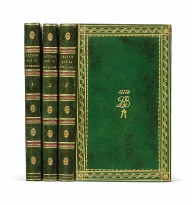 View 1. Thumbnail of Lot 19. Lettres à Émilie... Paris, 1800. 3 tomes in-8. Bel exemplaire de Joséphine Bonaparte relié par Bradel..