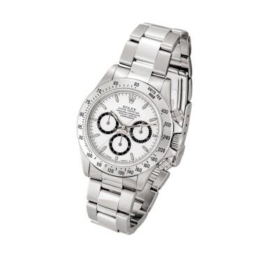 View 2. Thumbnail of Lot 2148. Rolex | Cosmograph Daytona, Reference 16520, A stainless steel chronograph wristwatch with bracelet, Circa 1996 | 勞力士 | Cosmograph Daytona 型號16520    精鋼計時鏈帶腕錶,約1996年製.