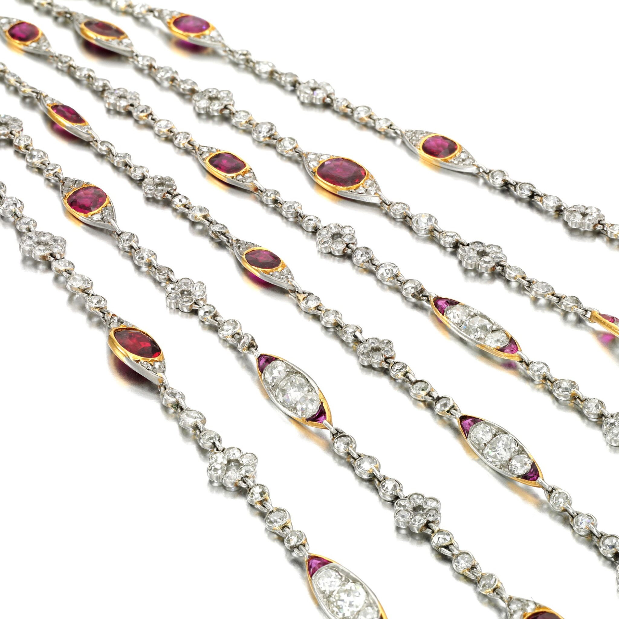 View full screen - View 1 of Lot 48. Ruby and diamond long chain, circa 1915.