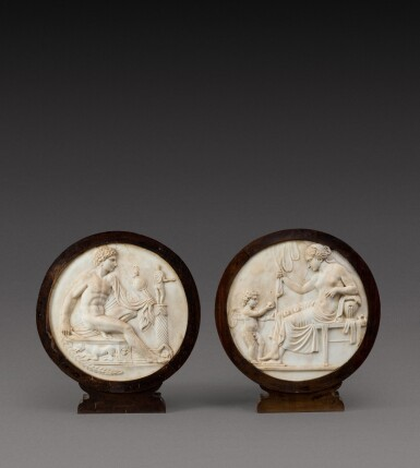 View 1. Thumbnail of Lot 114. Italian, 19th century | Pair of Relief Medallions with Venus and Cupid and Mars.