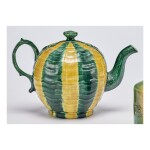 A WEDGWOOD LEAD-GLAZED CREAM-COLORED EARTHENWARE MELON TEAPOT AND COVER CIRCA 1759-60