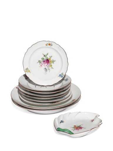 A group of ten porcelain dishes from the Everyday service, Imperial Porcelain Factory, St Petersburg and Gardner Porcelain Factory, Verbilki