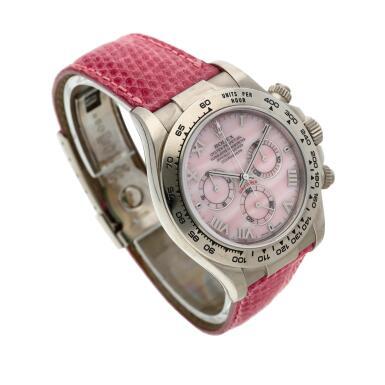 View 3. Thumbnail of Lot 210. Reference 116519 'Daytona Beach'  A white gold automatic chronograph wristwatch, Circa 2000.