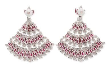 View 4. Thumbnail of Lot 1018. Pair of Ruby and Diamond Earrings | 格拉夫| 紅寶石 配 鑽石 耳墜一對 (紅寶石及鑽石共重約49.20及23.30克拉).