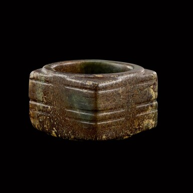 View 1. Thumbnail of Lot 128. A mottled celadon jade cong Neolithic period   新石器時代 青玉琮.