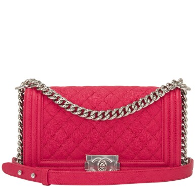 View 1. Thumbnail of Lot 186.  Chanel Red Quilted Old Medium Boy Bag of Caviar Leather with Silver Tone Hardware.