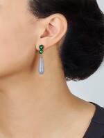 PAIR OF LAVENDER JADEITE, JADEITE AND DIAMOND PENDENT EARRINGS | 天然紫色翡翠 配 天然翡翠 及 鑽石 吊耳環一對