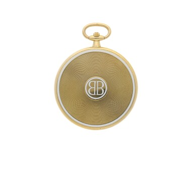 View 4. Thumbnail of Lot 34. CARTIER |  A YELLOW GOLD AND ENAMEL DEMI-HUNTING CASED WATCH, CIRCA 1920.